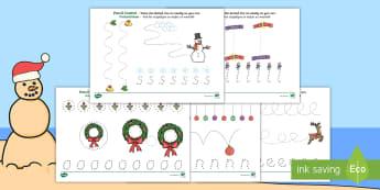 Christmas Pencil Control Activity Sheet English/Afrikaans - December, celebrate, Jesus, write, Desember, vier, skryf, EAL
