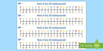 Mein 0-20 Zahlenstrahl - zählen, rückwärts, vorwärts, addieren, subtrahieren, lernhilfe,German