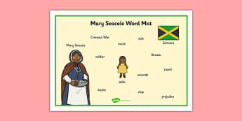 Mary Seacole Word Mat - mary seacole, word mat, topic words, topic mat, themed word mat, writing aid, mat of words, key words, keywords, key word mat, mat