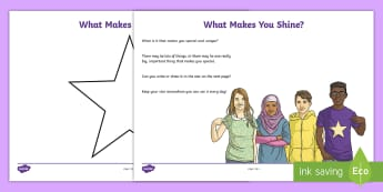What Makes You Shine? Activity Sheet - PSHCE, transition, emotions, friendships, behaviour, young people, worksheet