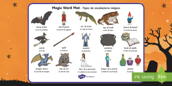 Magic Word Mat English/Spanish  - witch, magic, word mat, writing aid, mat, wizard, spell, writing, stories, EAL