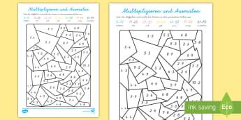 Multiplizieren und Ausmalen Arbeitsblatt - Multiplizieren und Ausmalen, Arbeitsblatt, Multiplikation, Multiplizieren, Malnehmen, Mathe, Mathema