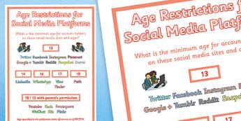 Age Restrictions for Social Media Platforms Poster - age, restrictions, social media, platforms, poster