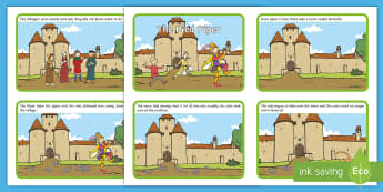The Pied Piper Story Sequencing (4 per A4) - Pied Piper, story, children, rats, Hamelin, pipes, sequencing, story sequencing, story resources, A4, cards, cats, cave, villagers, mountain, town, money, story book