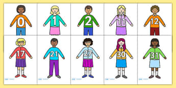 Numbers 0-31 on Children -  Number recognition, Number flashcards, counting, 0-31, calendar, counting, Numberline, Number line, Counting on, Counting back, ourselves, all about me, my body, senses, emotions, family, body, growth