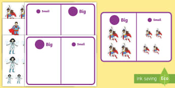Workstation Pack: Superhero Size Sorting Activity Pack - TEACCH packs, workstation, numeracy, big / little, size sorting, p scale maths