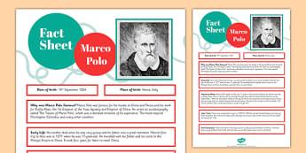 Marco Polo Fact Sheet - marco polo, fact sheet, fact, sheet, marco, polo