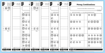 Money Combinations Differentiated Activity Sheets - measurement, money, money combinations, coins