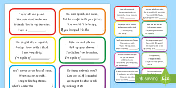 What Am I? Outdoor Treasure Hunt Activity - CfE Outdoor Learning, nature, forest, woodland, playground, treasure hunt, rhyming words, finding, ,