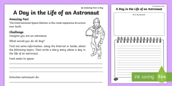 A Day in the Life of an Astronaut Activity Sheet - july amazing fact, diary, KS1, amazing fact, space, writing, jobs, worksheet