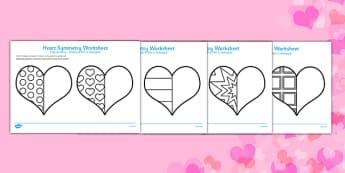 Valentine's Day Heart Symmetry Sheets Romanian Translation - romanian, symmetry, sheets, symmetry sheets, valentines day, valentines, heart, love heart, heart symmetry, reflection, creating symmetry, numeracy, math, shapes, symmetry activity