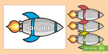 Posters d'affichage : Les mois de l'année sur des fusées - mois, months, poster, display, cycle 1, cycle 2, date,French