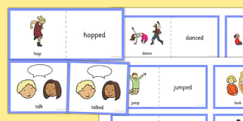 Present and Past Tense Verb Cards - present, past, tense, verb, cards