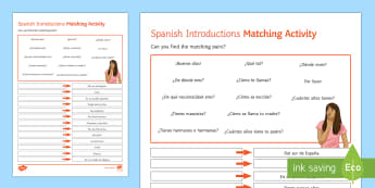 Introductions Middle Ability Matching Differentiated Activity Sheet Spanish - Spanish, Reading, Comprehensions, basic, expressions, introductions, amtching, differentiated, activ