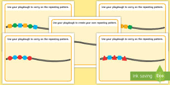 Repeating Patterns Playdough Mats - EYFS, Patterns, shape space measure, repeating patterns, sequence pattern, shape,