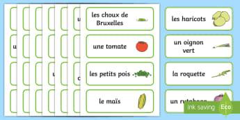 Cartes de vocabulaire pour jeu de rôle : Magasin de fruits et legumes - Vocabulaire, légumes, magasin, nourriture, fruits,French