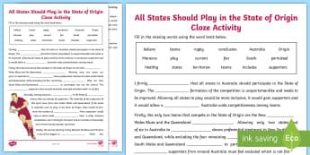 State of Origin Cloze Activity Sheet - Australia, English Curriculum, persuasive text,