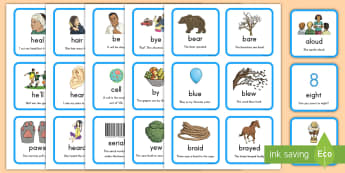 Homophones Matching Cards - homophones, matching, cards, English, sounds