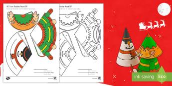 Simple 3D Cone Elf Bobble Head Christmas Activity Paper Craft US English/Spanish (Latin) - elf, christmas, xmas, crimbo, craft, crafting, design, making, art, creative, activity, festive, toy