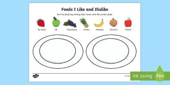 Foods I Like and Dislike Activity Sheet Irish - ROI - Irish Language Week Gaeilge Resources - 1st-17th March, Irish, language, bia, food, likes and