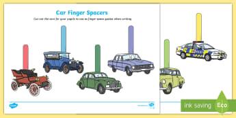 Cars Writing Finger Spacers Cut-Outs - Superhero Writing Finger Spacers - superhero, writing, finger spacers,spce,soace,spcae,superheor, fi