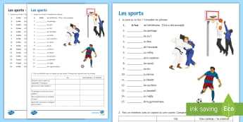 Sports Activity Sheet - French - Sports, leisure, freetime, passe-temps, French, KS3, sentences, writing ,French