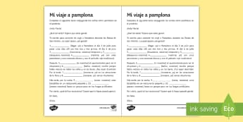 San Fermin Festivities Preterite Tense Gap Fill Activity Sheet Spanish - worksheet reading, writing, grammar, preterite, gap, fill, worksheet, accents, pamplona, navarra, sp