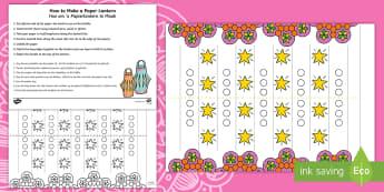 Diwali Paper Lantern Paper Craft English/Afrikaans - Celebrate, make, October, kuns, maak, EAL