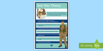 Just War Display Poster - Just War, Aquinas, gcse, ethics, conflict, religious studies, peace