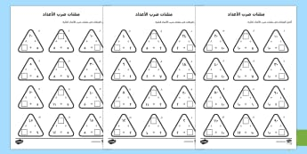 تمارين مثلثات ضرب الأعداد - ضرب الأعداد، جدول الضرب، مثلثات ضرب الأعداد، حساب، أور