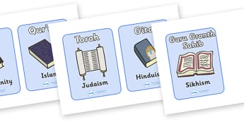 Religious Texts Picture Cards - religion, religions, cards, word cards, flashcards, wordcards, bible, Qur'an, Torah, Gita, Christianity, Islam, Judaism, Hinduism, Sikhism, Guru, Granth Sahib