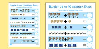 Burglar Up to 10 Addition Sheet - burglar bill, burglar, 10, addition sheet