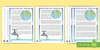 World Water Day 2017 Differentiated Reading Comprehension Activity - CfE World Water Day (22nd of March) wastewater, sustainable, water, waste, reading comprehension, ,S