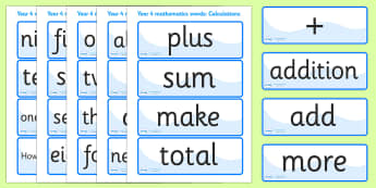 Calculation Vocabulary Cards (Year 4) - calculations, vocabulary, vocab, calculation, calculating, year 4, addition, add, plus, minus, subract, subracting, taking away, sum, multiply, multiplication
