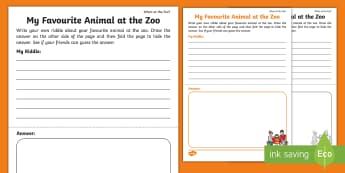 Who's at the Zoo? Create a Riddle Activity - exploring my world, aistear, story, zoo, literacy, oral language, reading, animals, tiger, elephant,