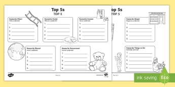 Top 5s Ranking Favourites Activity Sheet English/Romanian - worksheet Top 5s Ranking Favourites Activity Sheet - Ranking, favourites, new class, getting to know