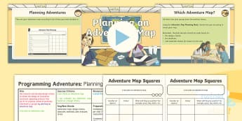 PlanIt D&T Upper KS2 - Programming Adventures Lesson Pack Planning an Adventure Map - Lesson 4 - Adventure maps, design criteria, obstacles, materials, plan, evaluate, revise, bee bot, Generate dev
