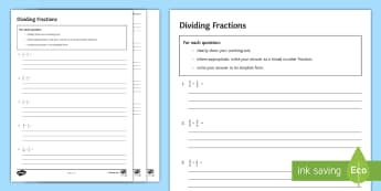 Dividing Fractions Activity Sheet - Mixed Simplify Simplest  Numerator Denominator Division Divide Keep Change Flip, Kcf, Kfc, Multiply,