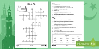 Eid Vocabulary Crossword Activity Sheets - faith, events, religion, islam, muslim, ramadan, fitr, mubarak