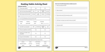 Reading Habits Activity Sheet-Irish, worksheet