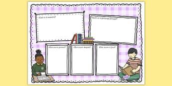 Reseña de libro Plantilla colorida para escribir - comprehensión, sumario, lectura, leer, gusto por la lectura