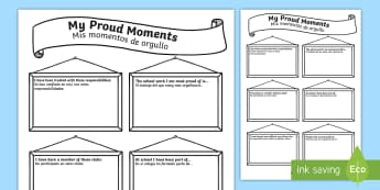 My Proud Moments Writing Frames English/Spanish - My Proud Moments Writing Template - ourselves, writing aid  , oursleves, ourselvs, tempelte, writtin