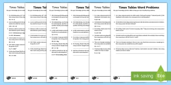 Times Tables Word Problems Differentiated Activity Sheets  - multiplication, division problems, inverse operation, multiplication tables, multiplication word pro