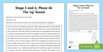 Northern Ireland Linguistic Phonics Stage 5 and 6, Phase 4b, 'oy' Sound Text Activity Sheet - NI, oi, oy, Worksheet, sound search, text