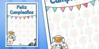 Póster ¡Feliz cumpleaños! El espacio - cumpleaños, espacio