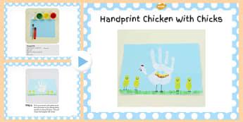 Handprint Chicken With Chicks Craft PowerPoint - chicken, craft