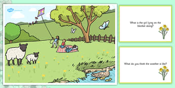 Spring Park Scene and Question Cards - spring, spring park, questions, comprehension pack