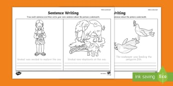 Who's at the Zoo? Trace and Copy Sentences Activity Sheet - exploring my world, Aistear, Play, Zoo, Animals, trace,copy, writing, sentence, listeracy, infants,