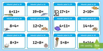 Adunări în concentrul 0 20 Cartonașe - află termen necunoscut, matematică, adunări, scăderi, activități, jocuri, fișe,Romanian