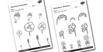 Flower Themed Tallest Object Worksheet - measure, height, flower